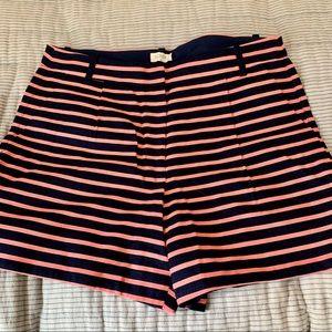 J CREW Navy Blue/ Pink Stripe Shorts